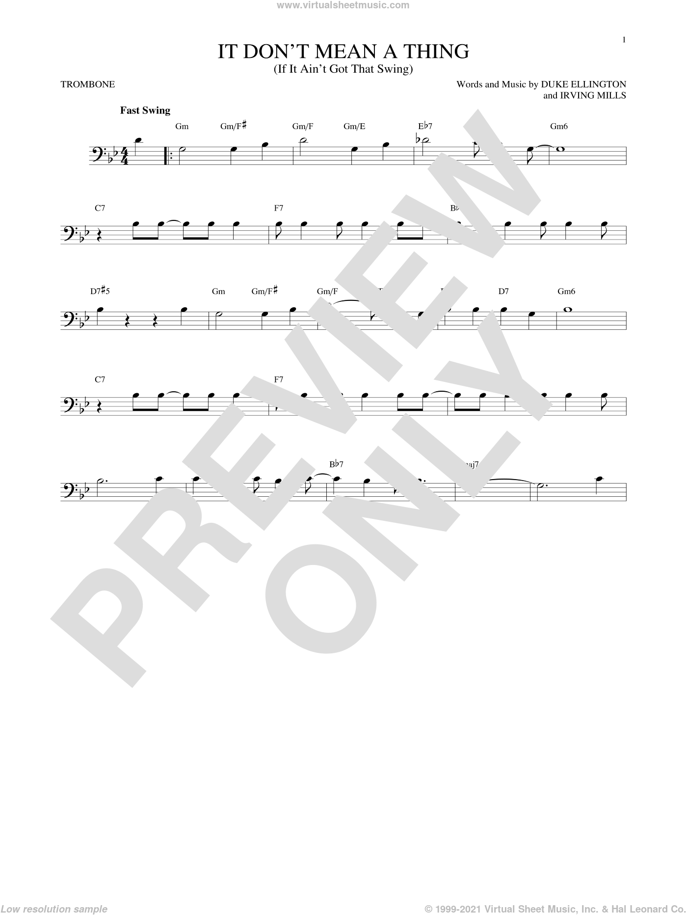 It Don't Mean A Thing (If It Ain't Got That Swing) sheet music for trombone solo by Duke Ellington and Irving Mills. Score Image Preview.