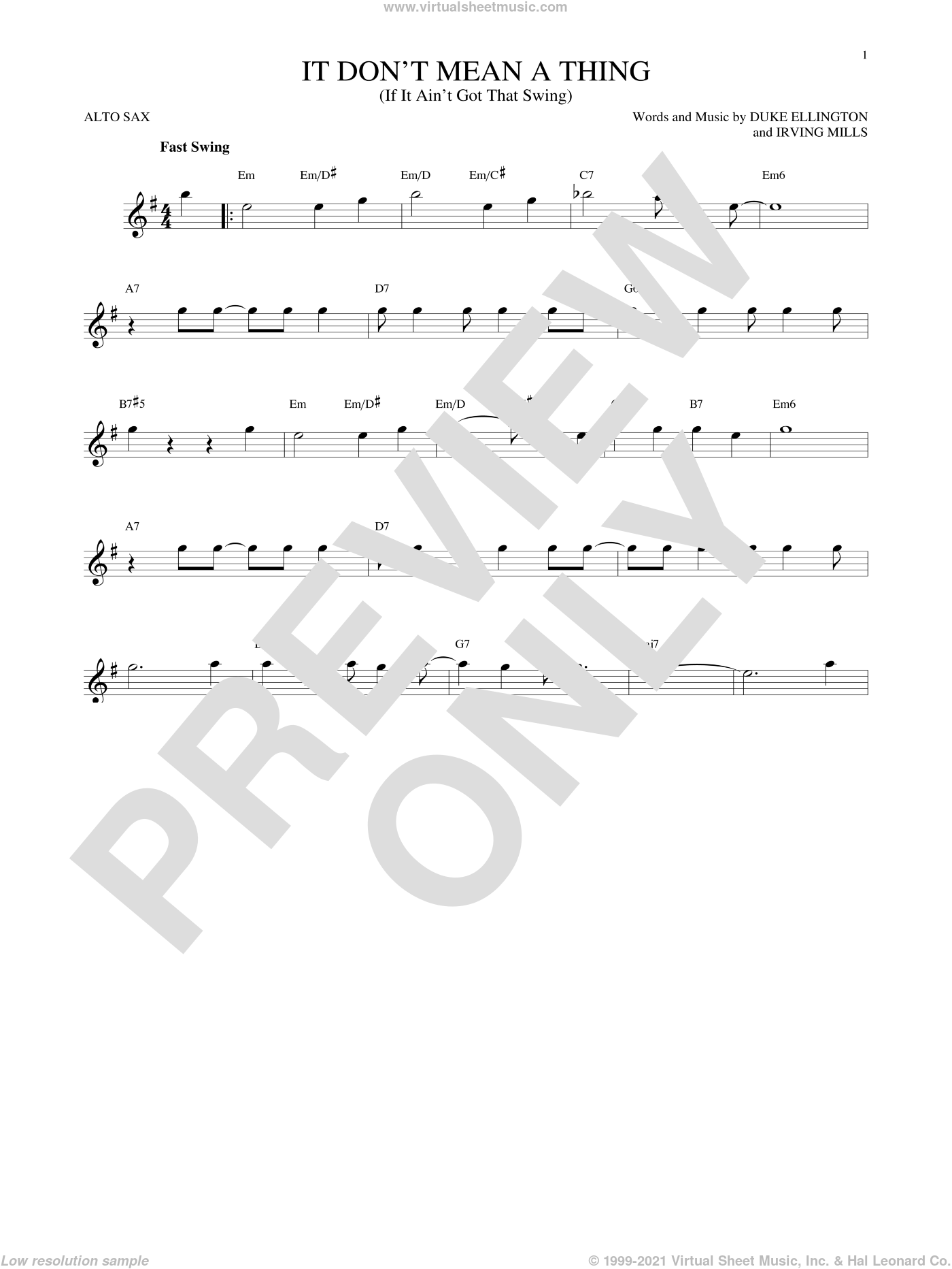 It Don't Mean A Thing (If It Ain't Got That Swing) sheet music for alto saxophone solo by Irving Mills and Duke Ellington. Score Image Preview.