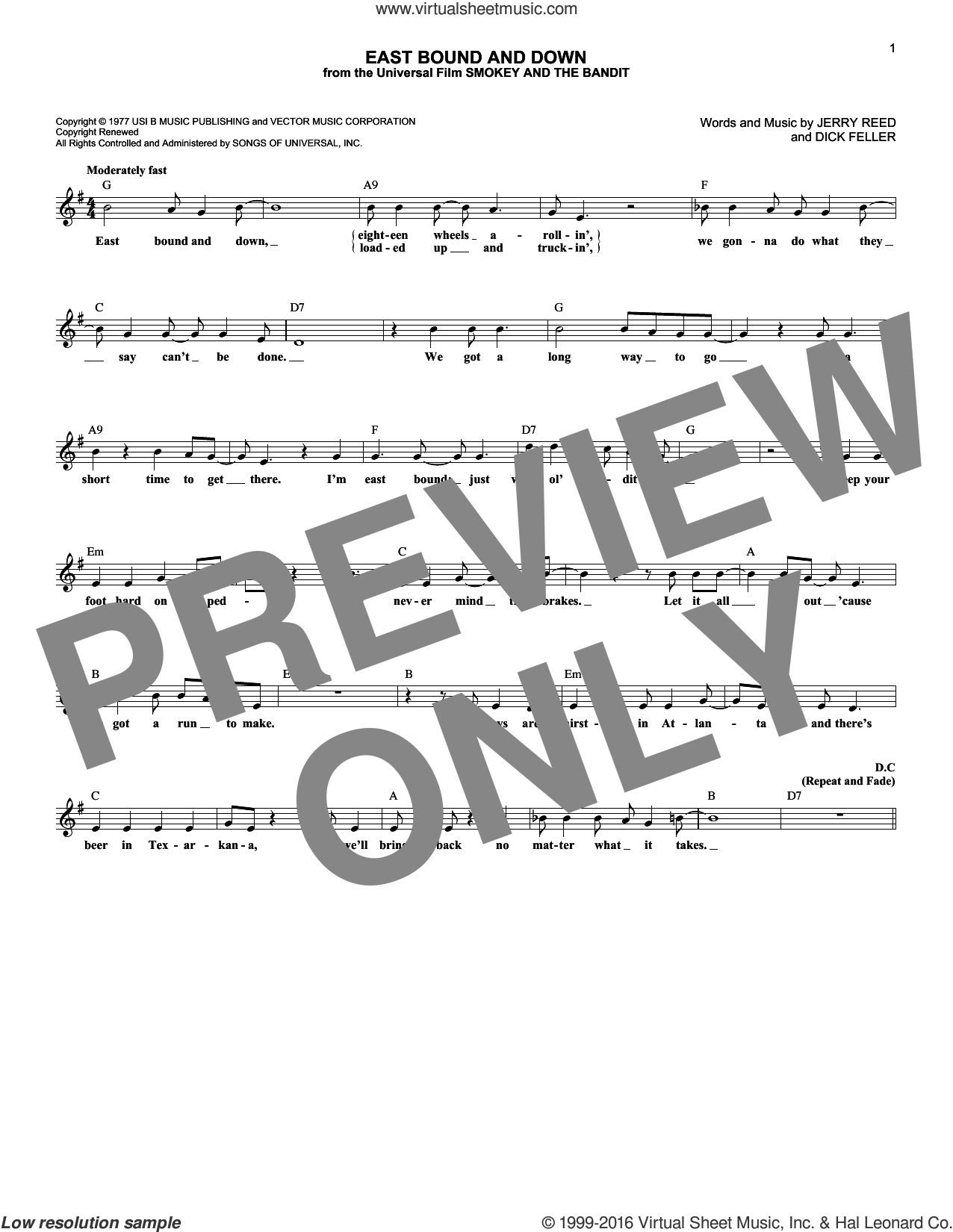 East Bound And Down sheet music for voice and other instruments (fake book) by Jerry Reed. Score Image Preview.