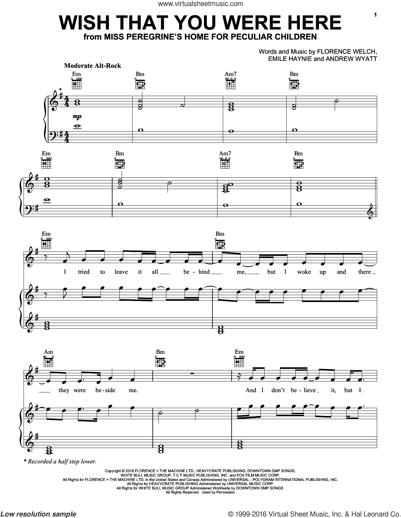 Wish That You Were Here sheet music for voice, piano or guitar by Florence And The Machine, Andrew Wyatt, Emile Haynie and Florence Welch, intermediate skill level