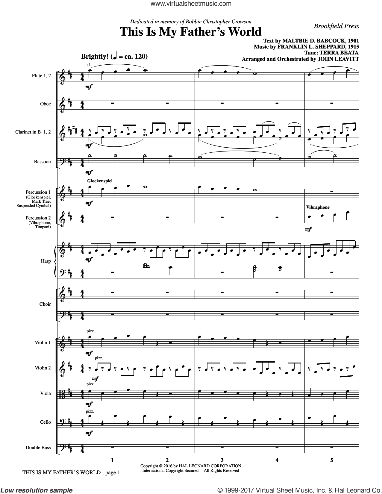 This Is My Father's World (COMPLETE) sheet music for orchestra/band by John Leavitt, Franklin L. Sheppard and Maltbie D. Babcock, intermediate skill level