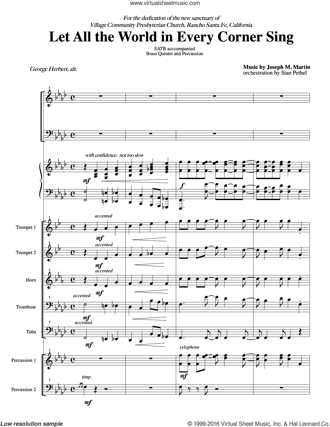 Let All the World in Every Corner Sing sheet music for orchestra/band (score) by Joseph M. Martin, intermediate