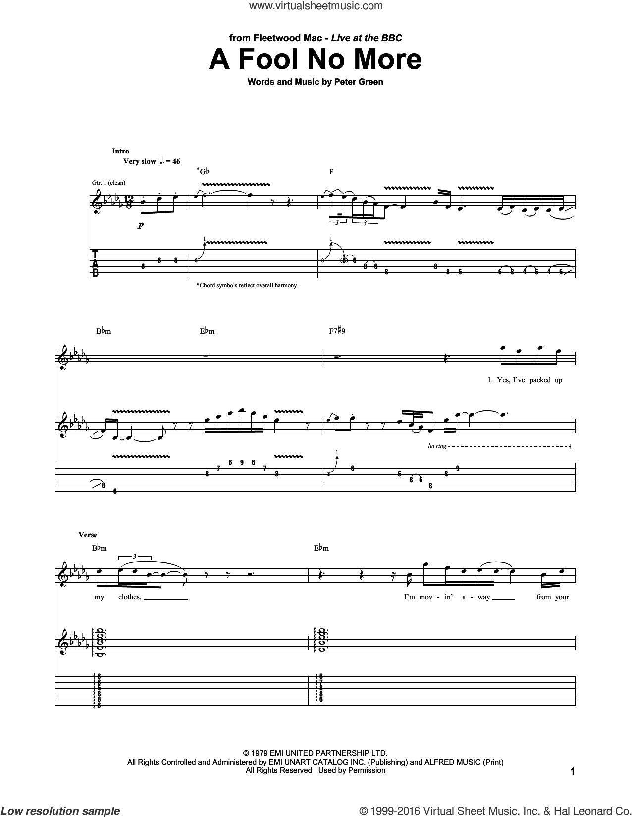 A Fool No More sheet music for guitar (tablature) by Fleetwood Mac and Peter Green. Score Image Preview.