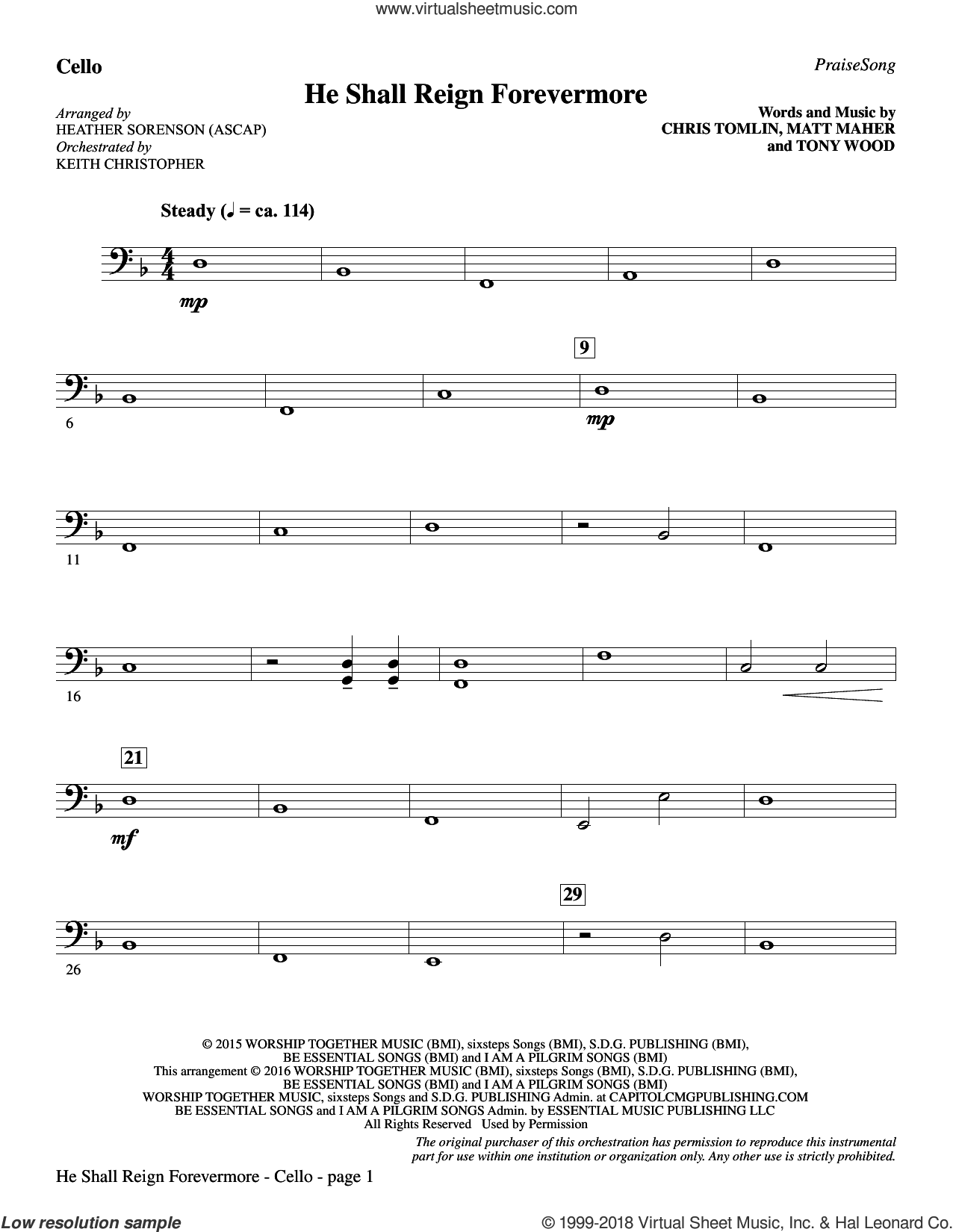 He Shall Reign Forevermore (with 'Angels We Have Heard on High') sheet music for orchestra/band (cello) by Heather Sorenson, James Chadwick and Miscellaneous, intermediate