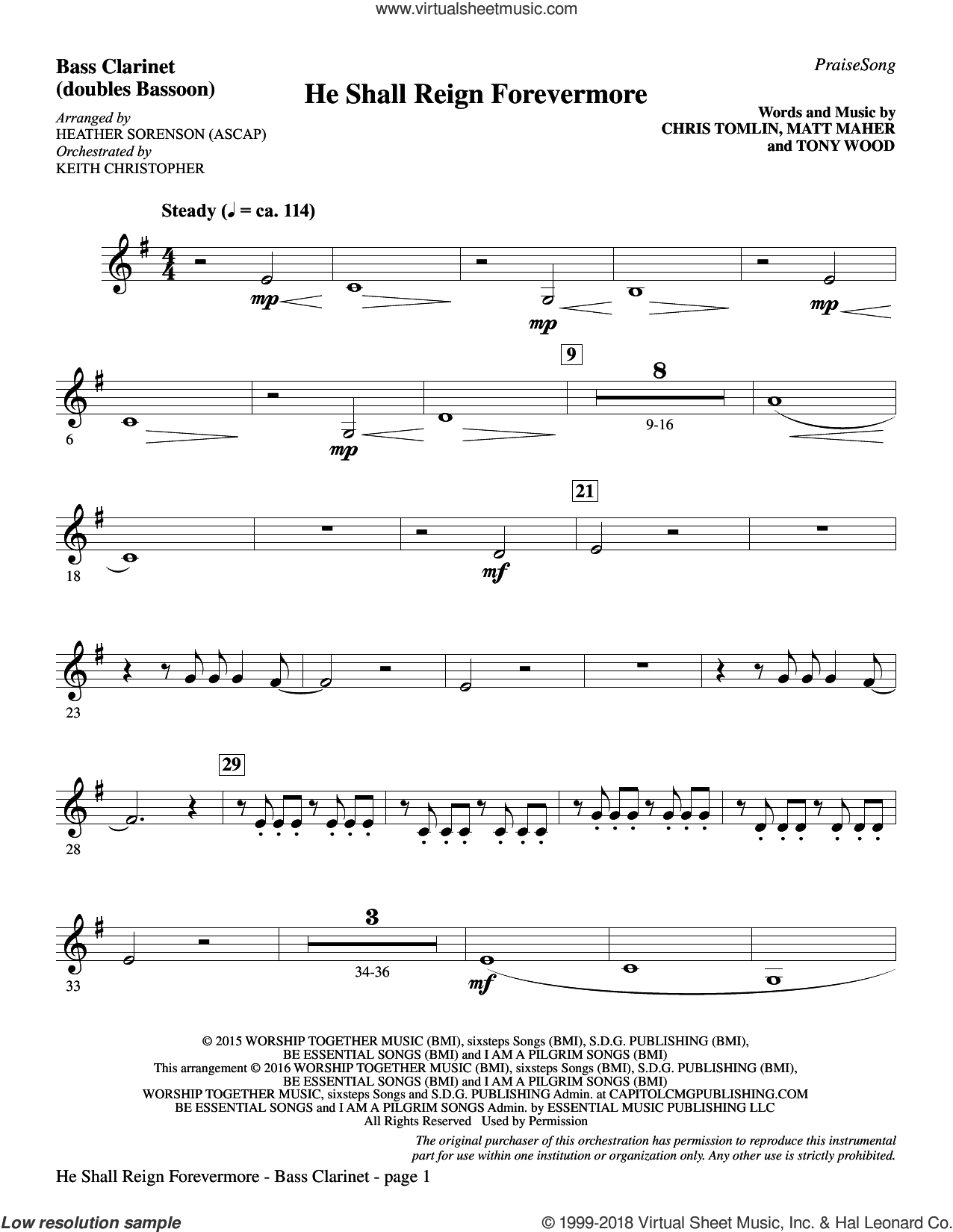 He Shall Reign Forevermore (with 'Angels We Have Heard on High') sheet music for orchestra/band (bass clarinet, sub. tuba) by Heather Sorenson, James Chadwick and Miscellaneous, intermediate skill level