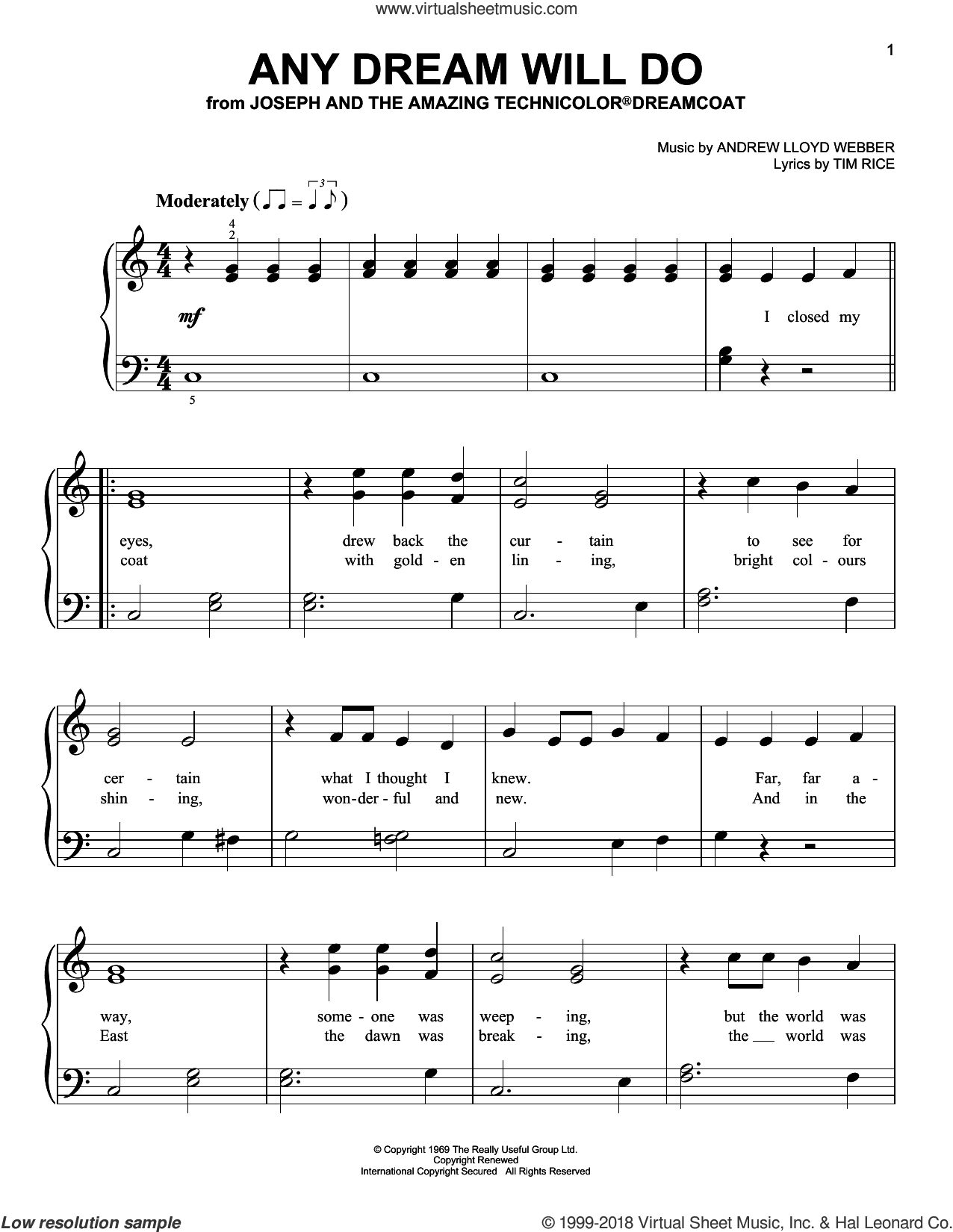 Any Dream Will Do sheet music for piano solo by Andrew Lloyd Webber and Tim Rice, beginner skill level