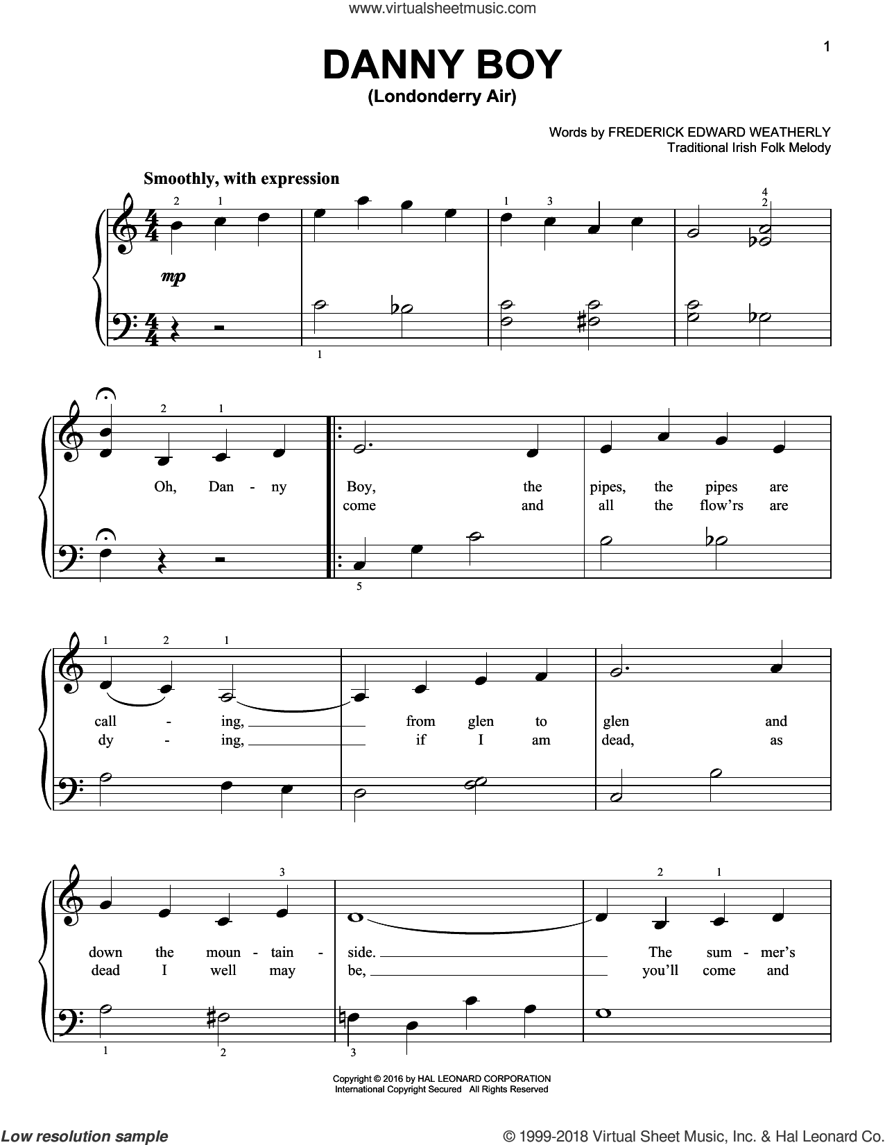 Danny Boy sheet music for piano solo by Frederick Edward Weatherly and Traditional Irish. Score Image Preview.