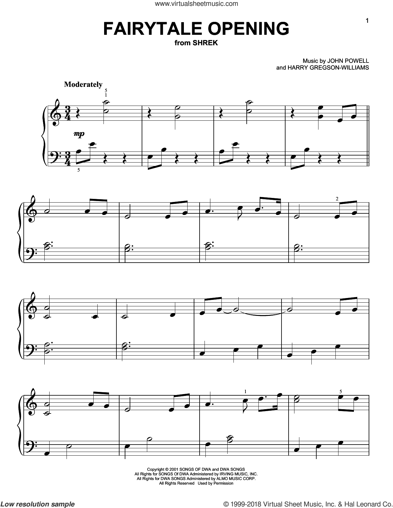 Fairytale Opening sheet music for piano solo by John Powell and Harry Gregson-Williams, easy piano. Score Image Preview.