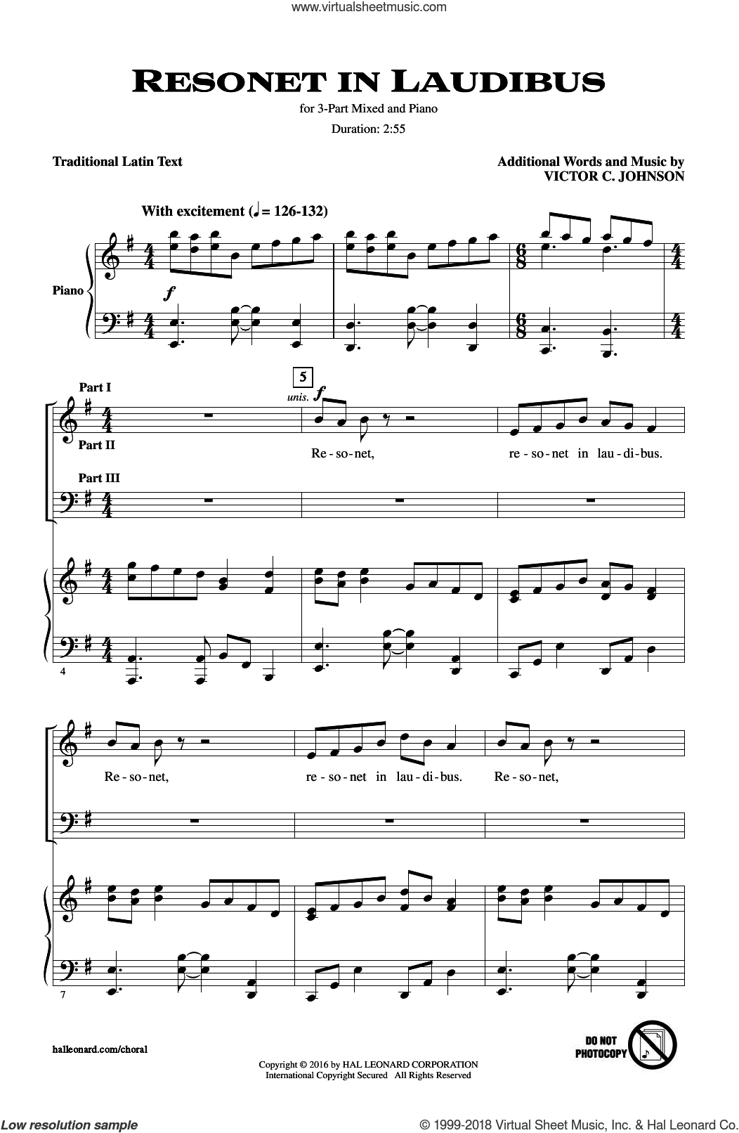 Resonet In Laudibus sheet music for choir (3-Part Mixed) by Victor Johnson, intermediate skill level