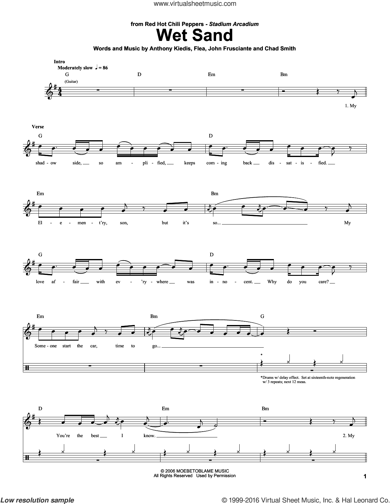 Wet Sand sheet music for drums by Red Hot Chili Peppers. Score Image Preview.