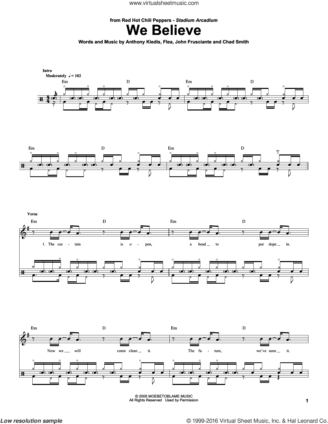 We Believe sheet music for drums by Red Hot Chili Peppers. Score Image Preview.