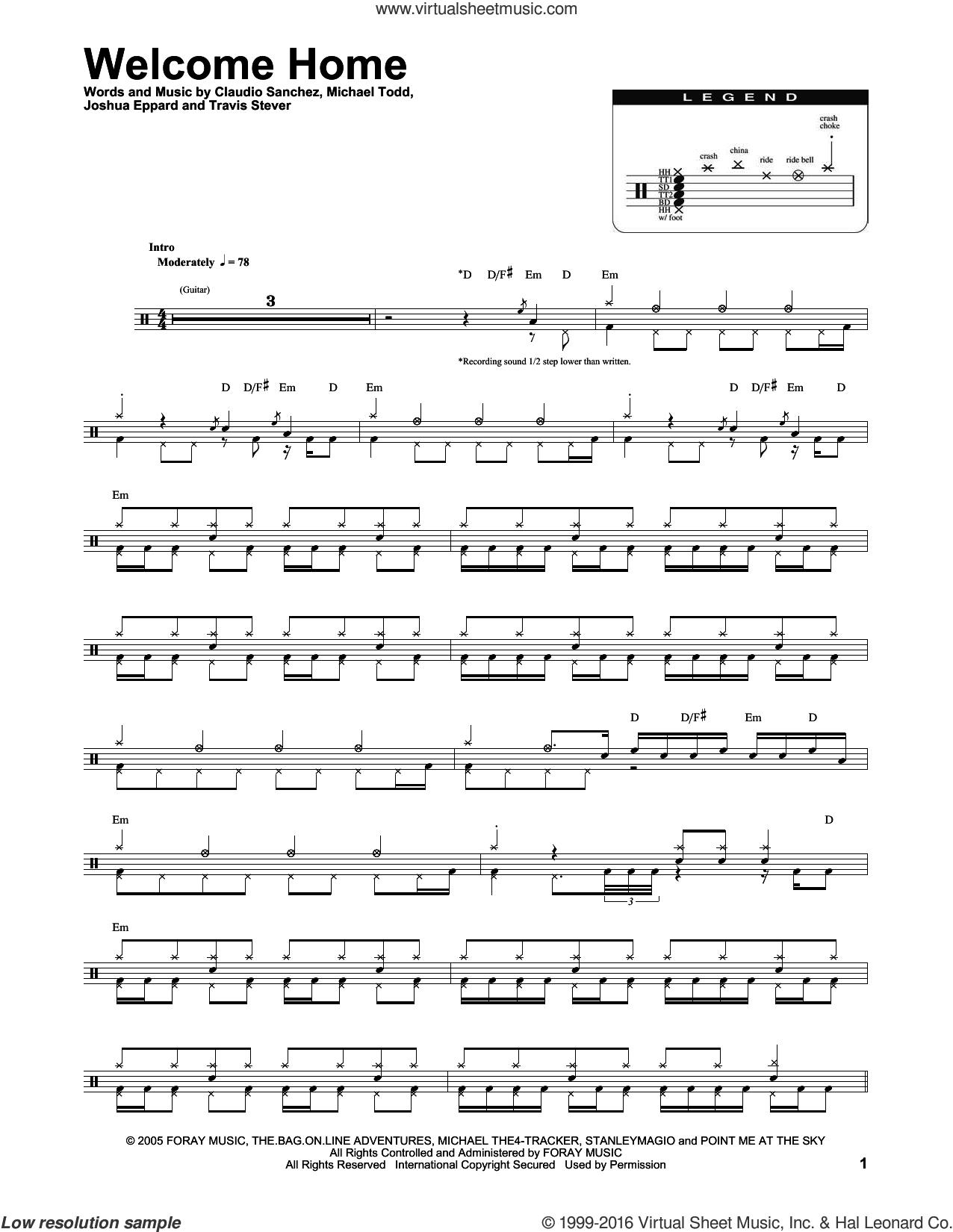 Welcome Home sheet music for drums by Coheed And Cambria, Claudio Sanchez, Joshua Eppard, Michael Todd and Travis Stever, intermediate skill level