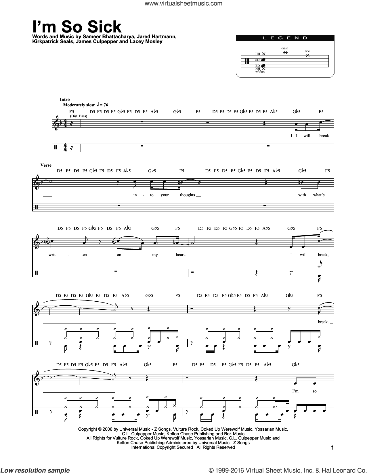 I'm So Sick sheet music for drums by Flyleaf, James Culpepper, Jared Hartmann, Kirkpatrick Seals, Lacey Mosley and Sameer Bhattacharya, intermediate skill level