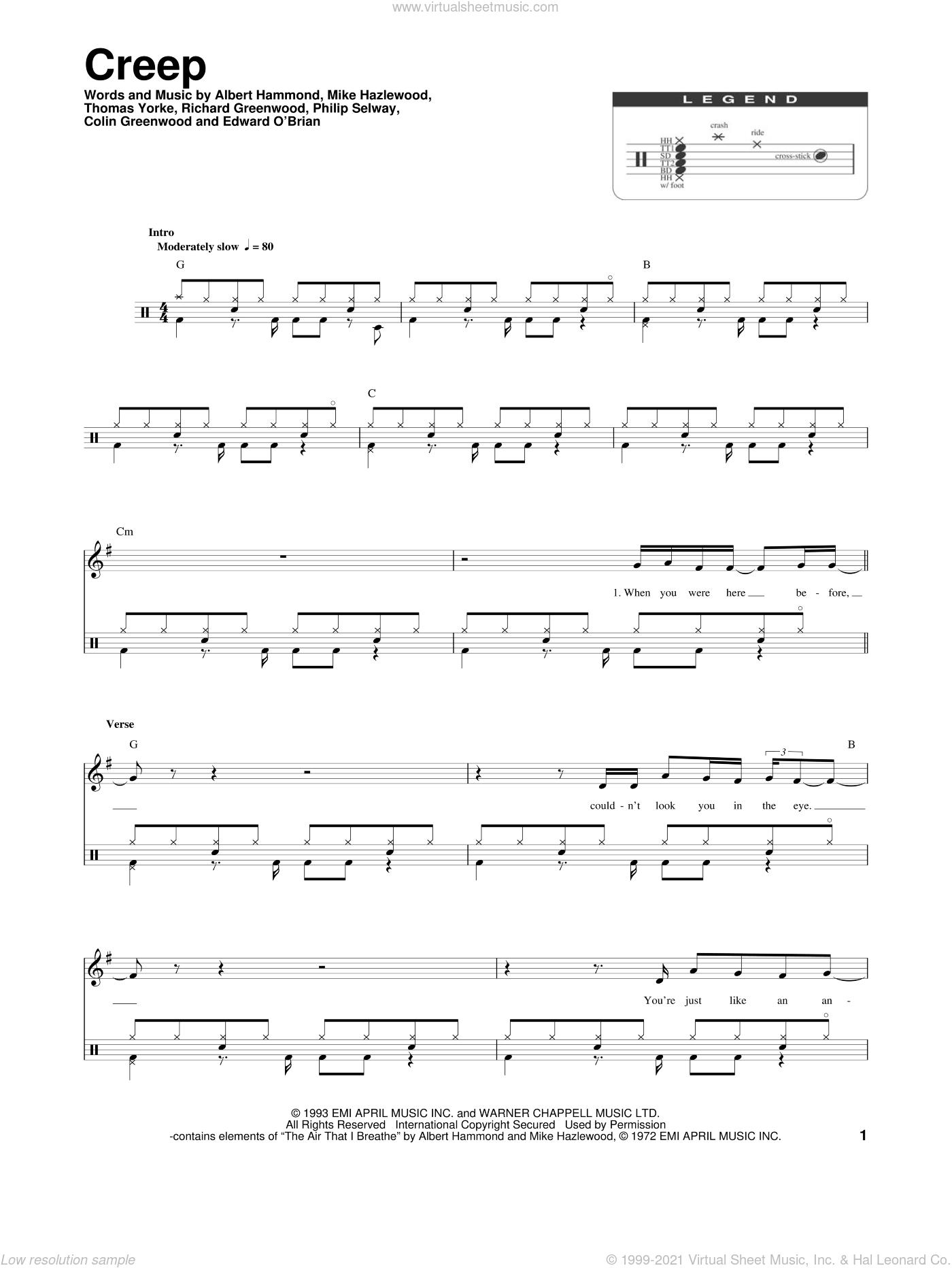 Creep sheet music for drums by Radiohead, Albert Hammond, Colin Greenwood, Jonathan Greenwood, Michael Hazlewood, Philip Selway and Thom Yorke, intermediate skill level