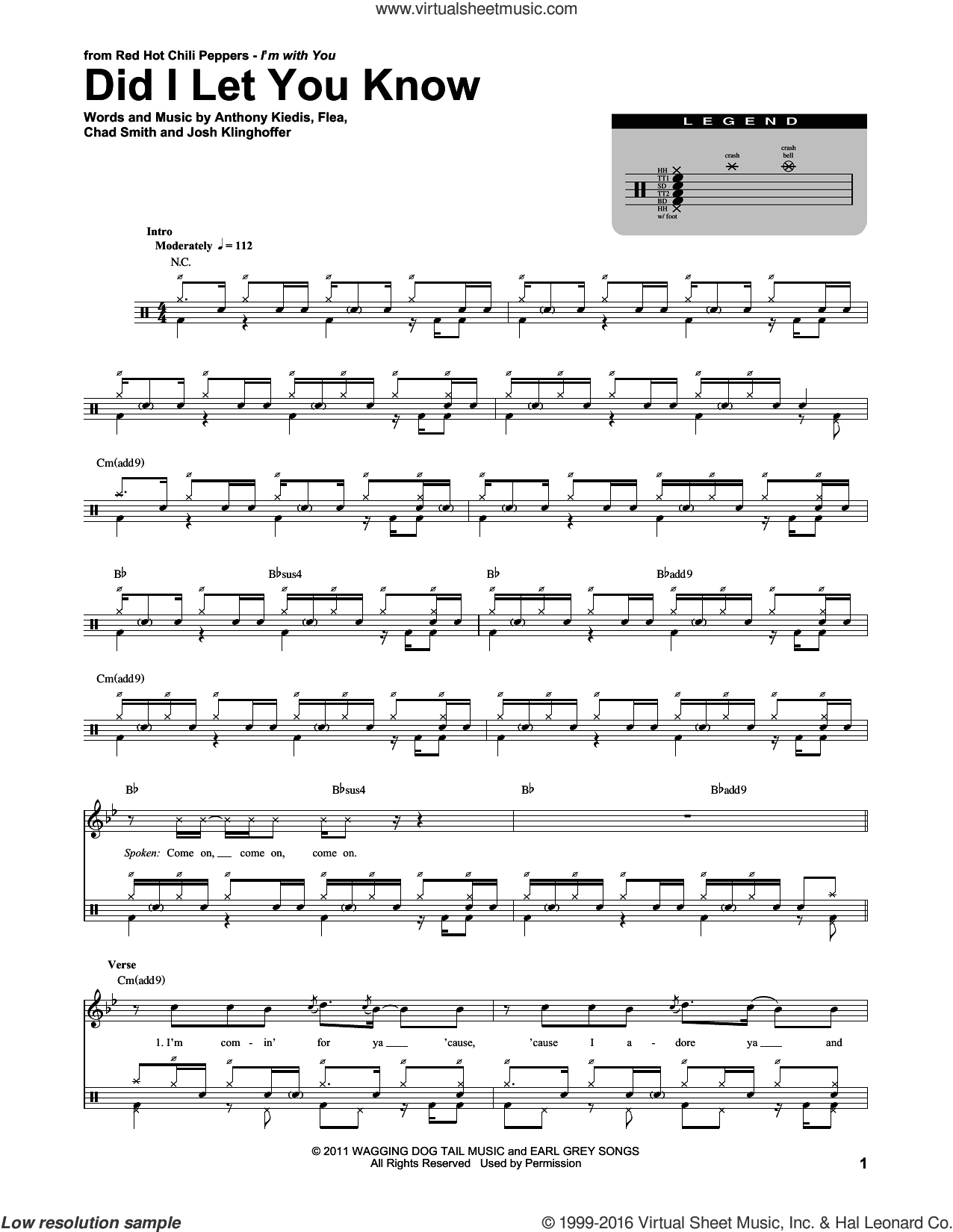Did I Let You Know sheet music for drums by Red Hot Chili Peppers, Anthony Kiedis, Chad Smith, Flea and Josh Klinghoffer, intermediate skill level