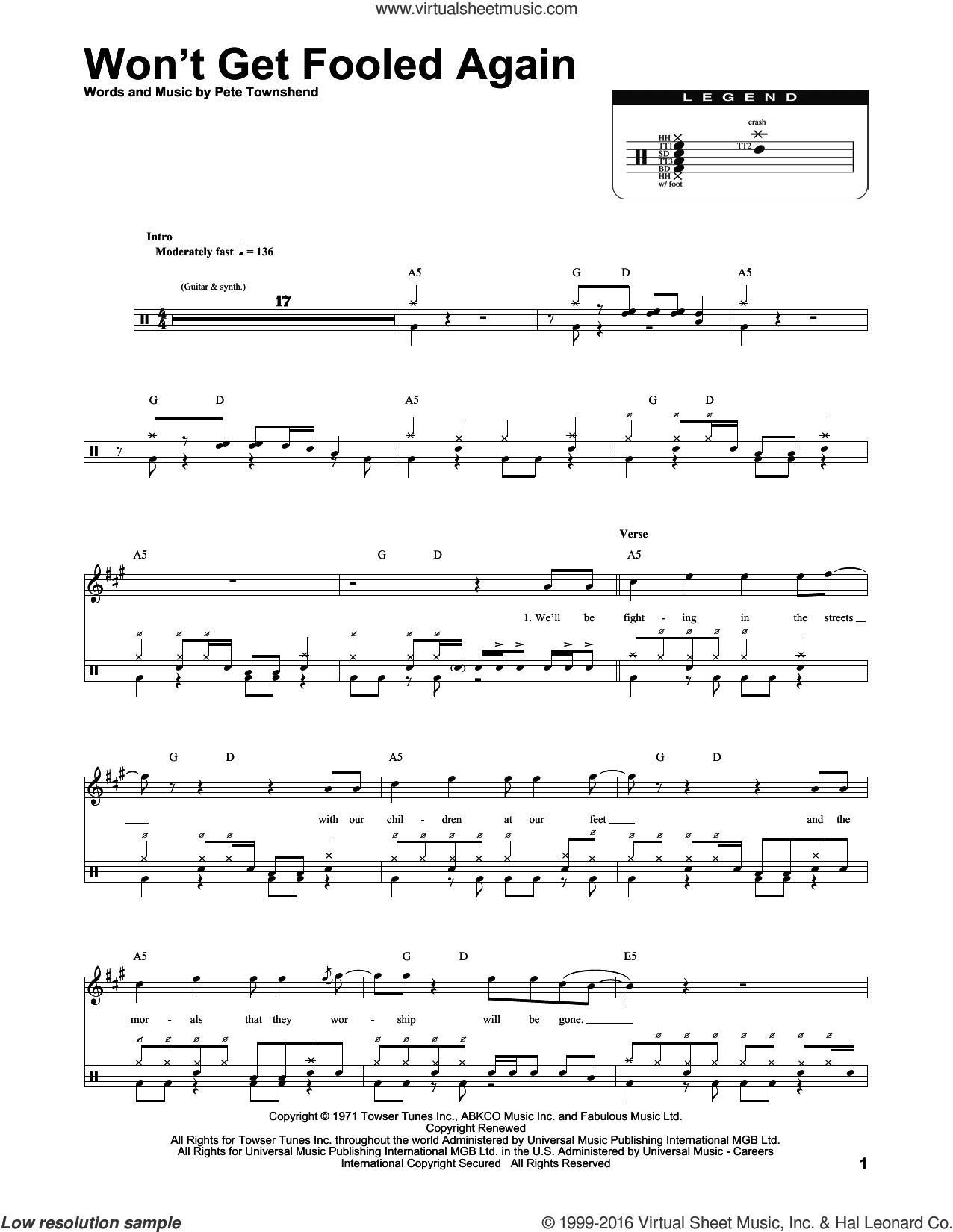 Won't Get Fooled Again sheet music for drums by Pete Townshend and The Who. Score Image Preview.