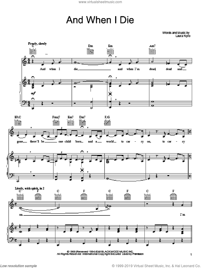 And When I Die sheet music for voice, piano or guitar by Laura Nyro and Blood, Sweat & Tears, intermediate skill level