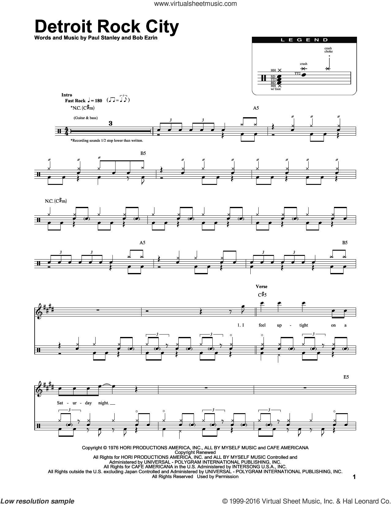 Detroit Rock City sheet music for drums by Paul Stanley, KISS and Bob Ezrin. Score Image Preview.