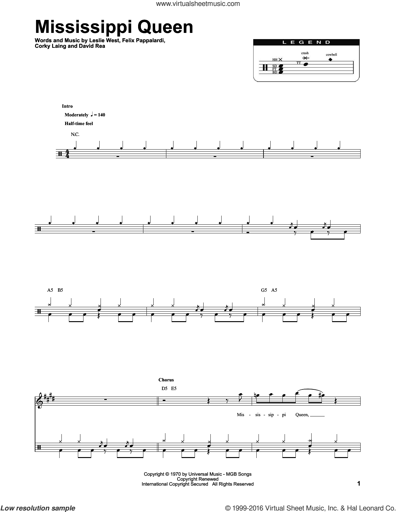 Mississippi Queen sheet music for drums by Mountain, intermediate drums. Score Image Preview.