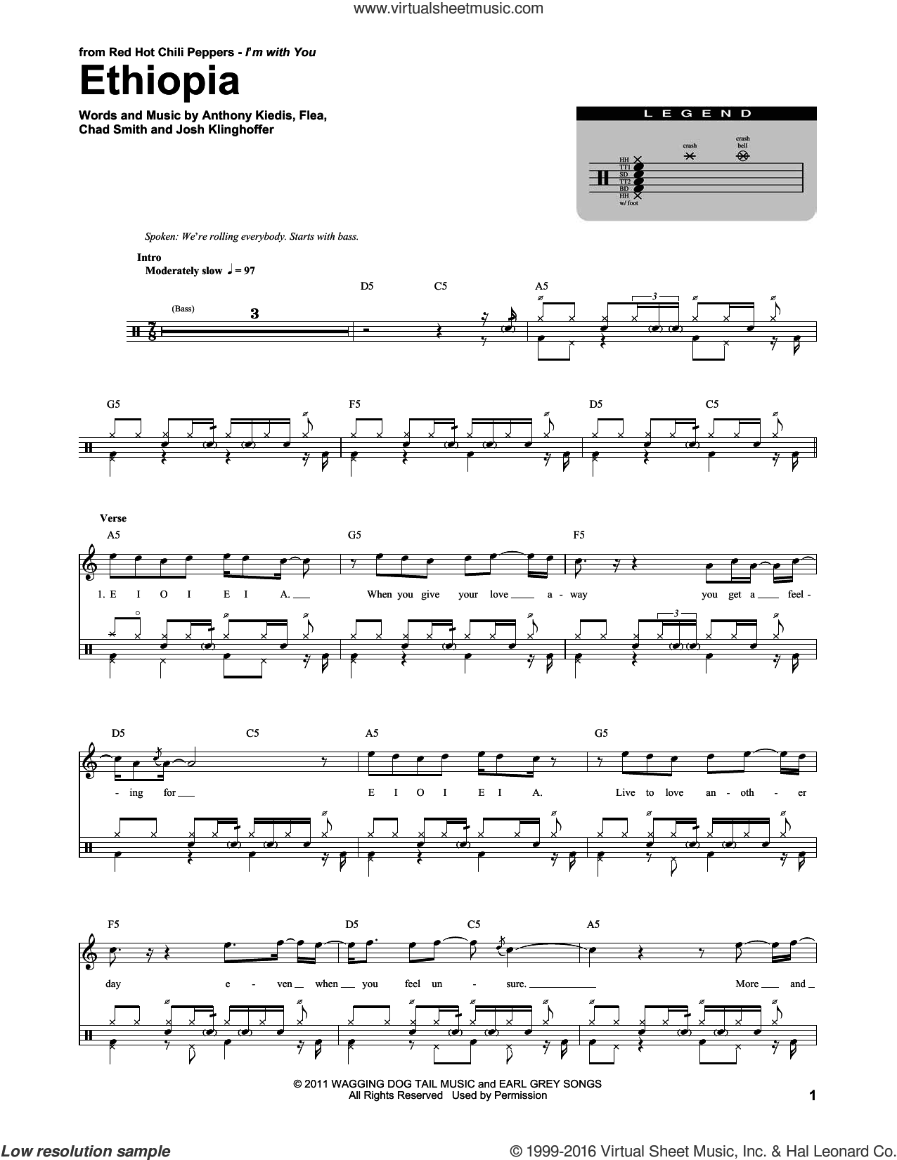 Ethiopia sheet music for drums by Red Hot Chili Peppers, Anthony Kiedis, Chad Smith, Flea and Josh Klinghoffer, intermediate skill level