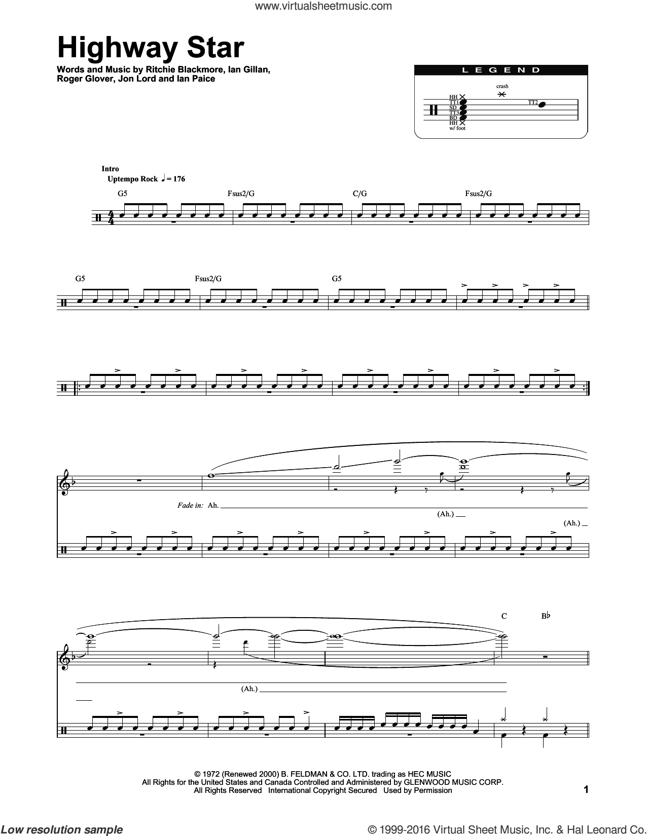 Highway Star sheet music for drums by Deep Purple, intermediate drums. Score Image Preview.