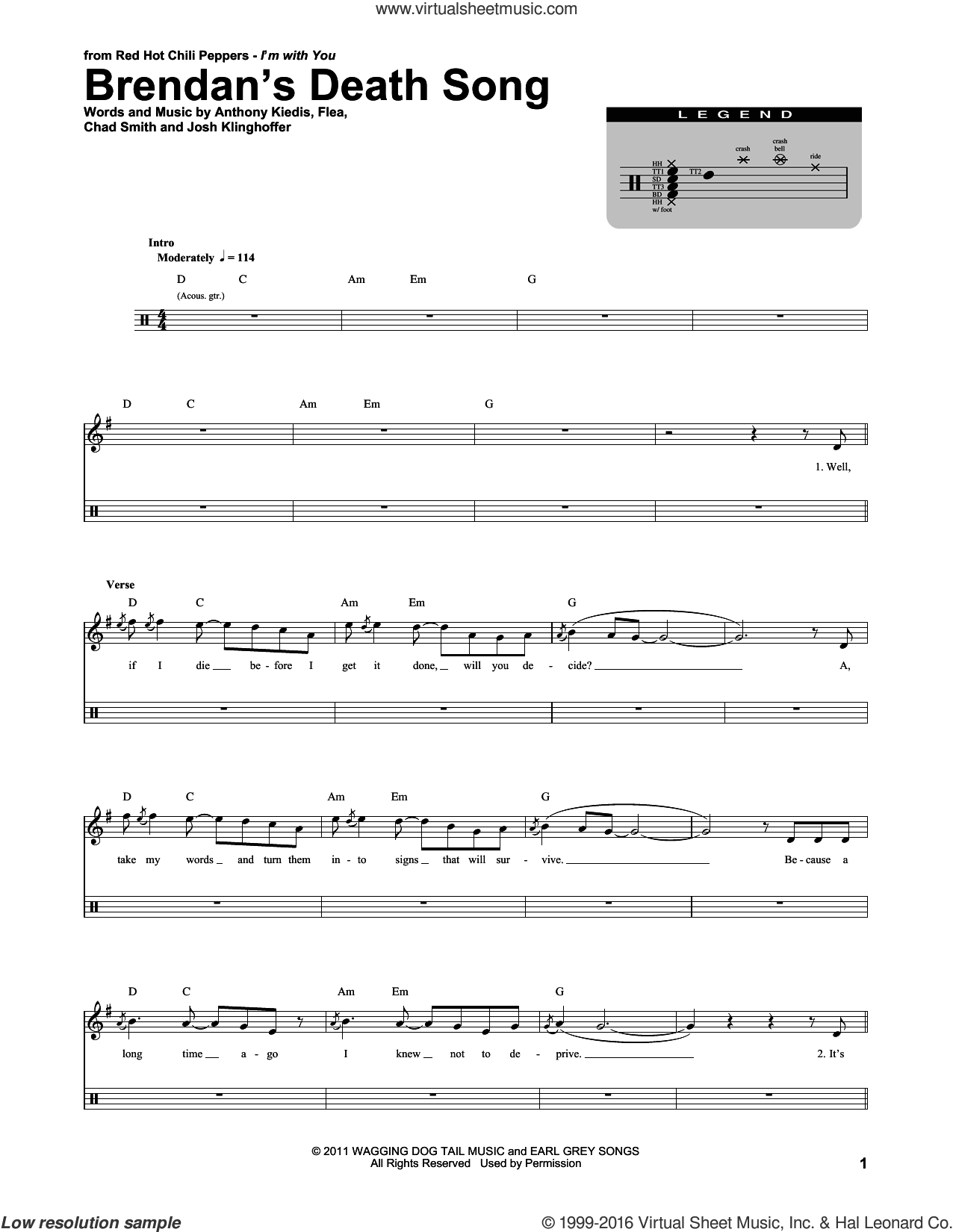 Brendan's Death Song sheet music for drums by Red Hot Chili Peppers. Score Image Preview.