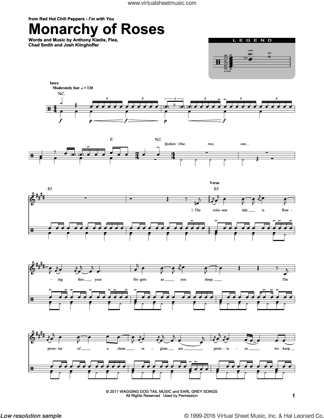 Monarchy Of Roses sheet music for drums by Red Hot Chili Peppers, intermediate. Score Image Preview.