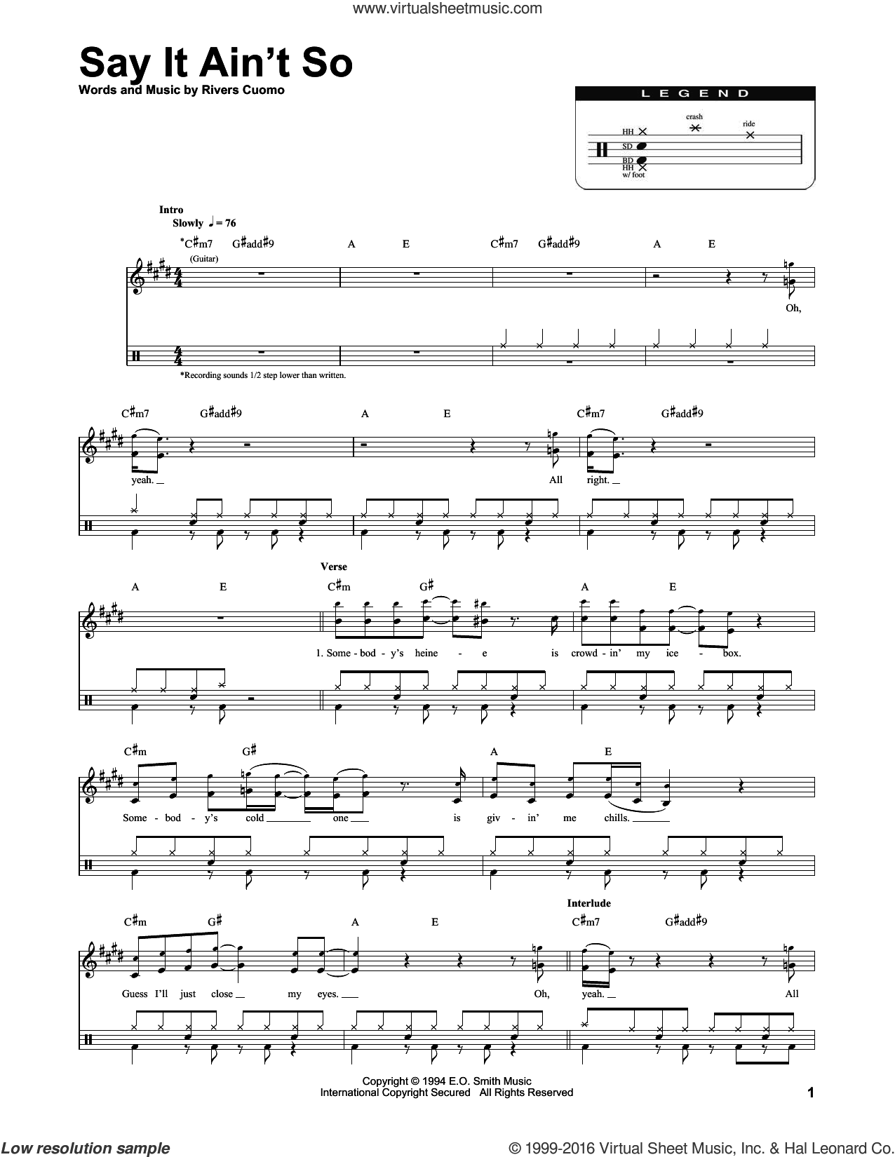 Weezer - Say It Ain't So sheet music for drums [PDF]