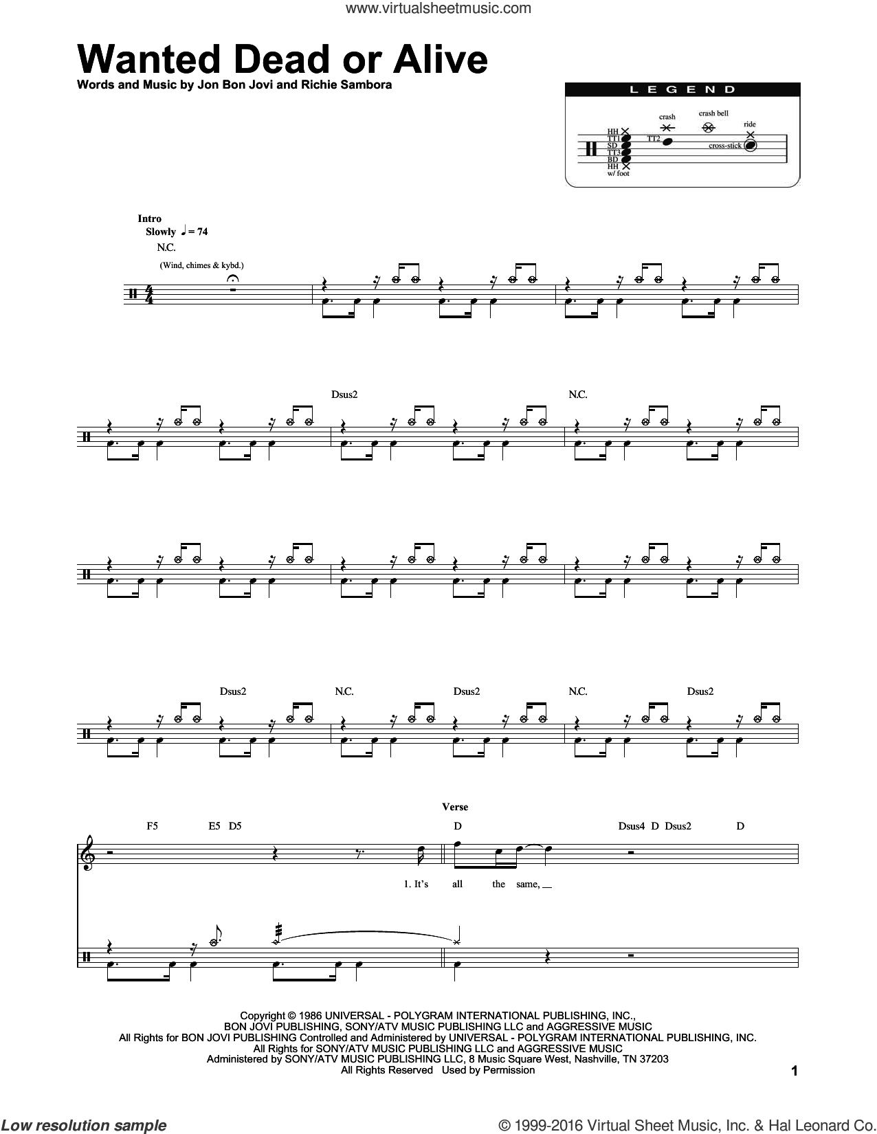 Wanted Dead Or Alive sheet music for drums by RICHIE SAMBORA, Chris Daughtry and Bon Jovi. Score Image Preview.