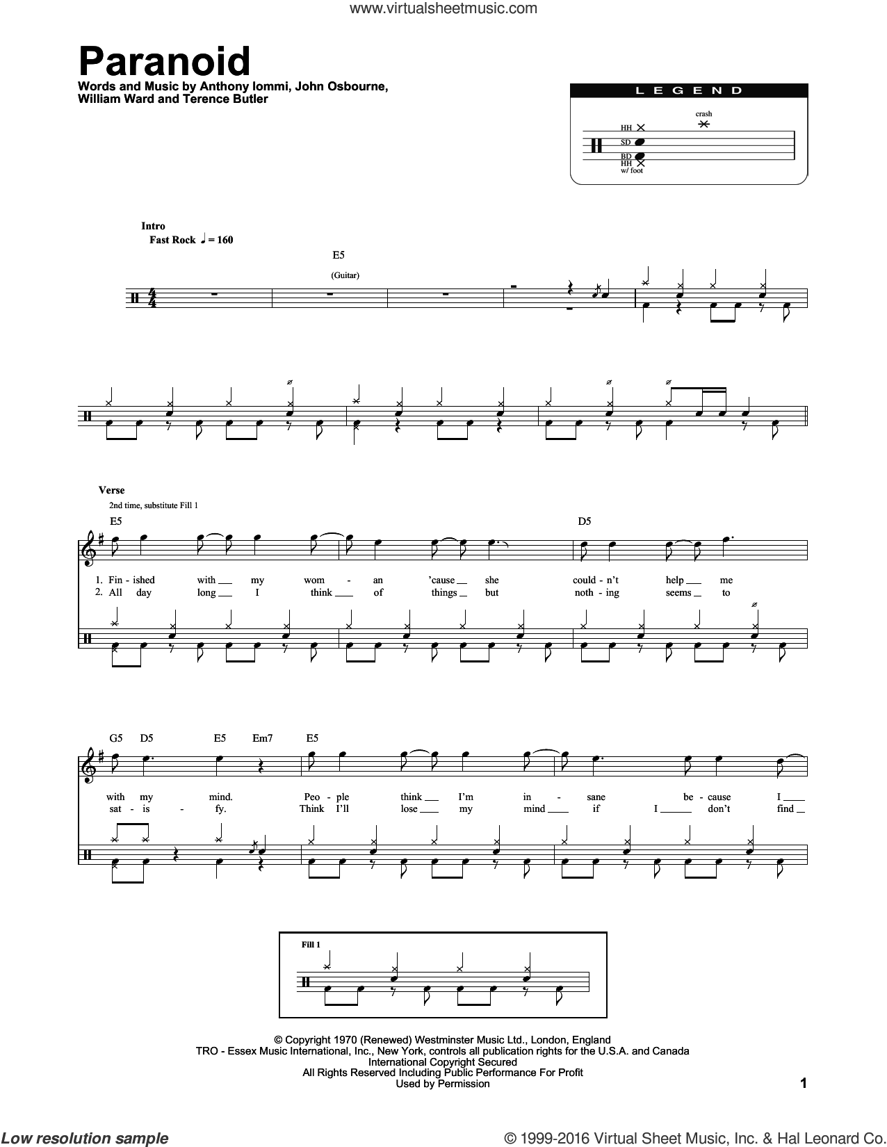 Paranoid sheet music for drums by Black Sabbath, Anthony Iommi, John Osbourne, Terence Butler and William Ward, intermediate skill level