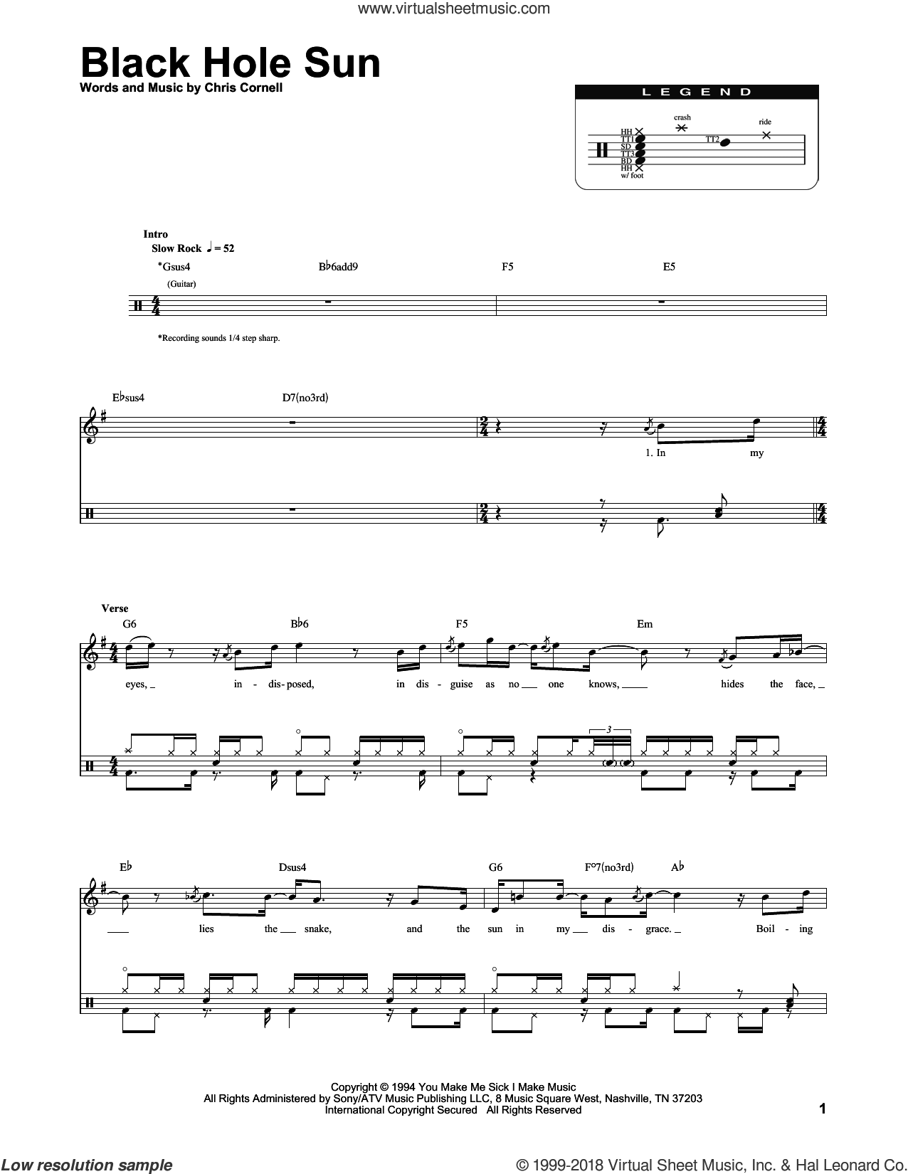 Black Hole Sun sheet music for drums by Soundgarden and Chris Cornell, intermediate