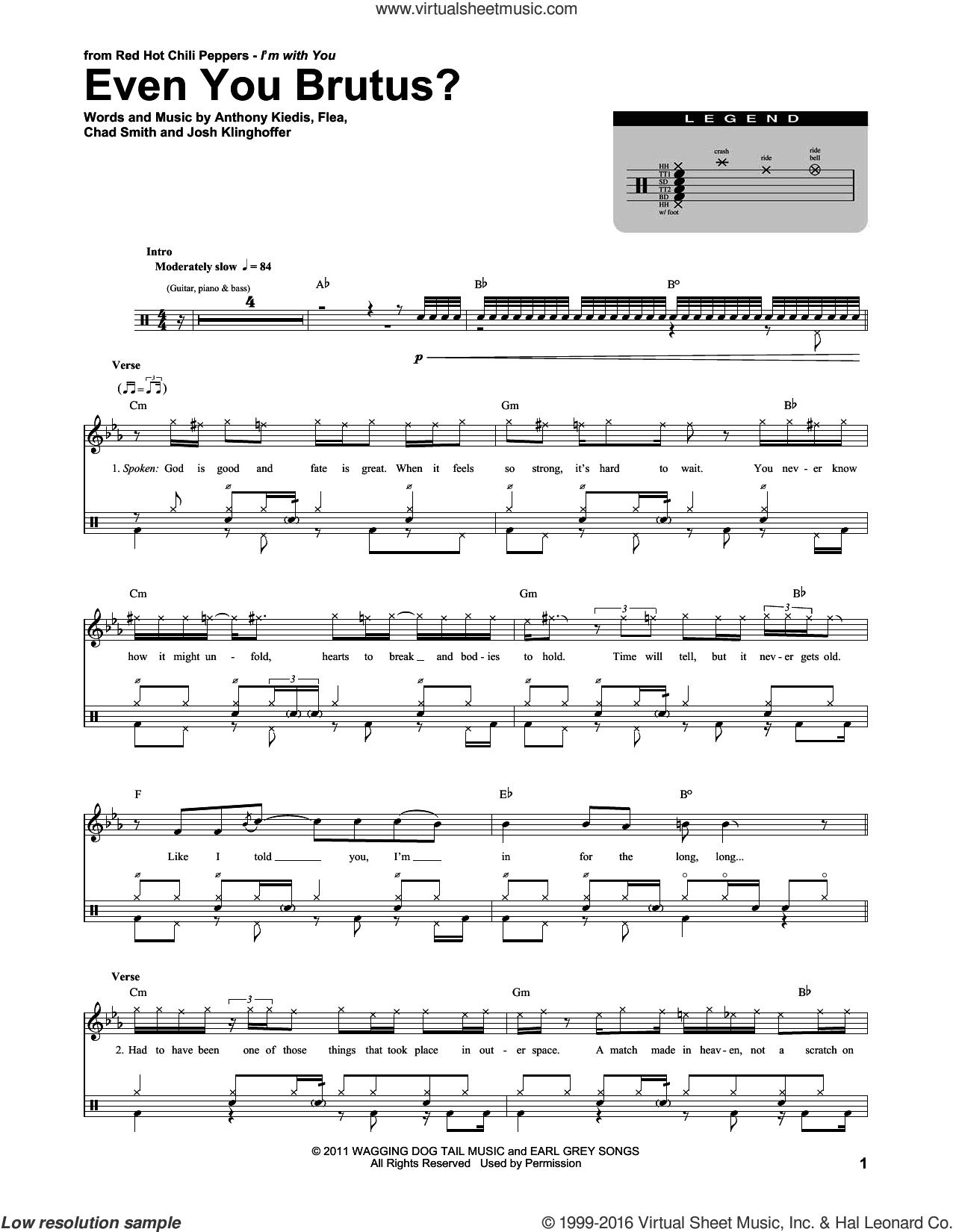 Even You Brutus? sheet music for drums by Red Hot Chili Peppers. Score Image Preview.