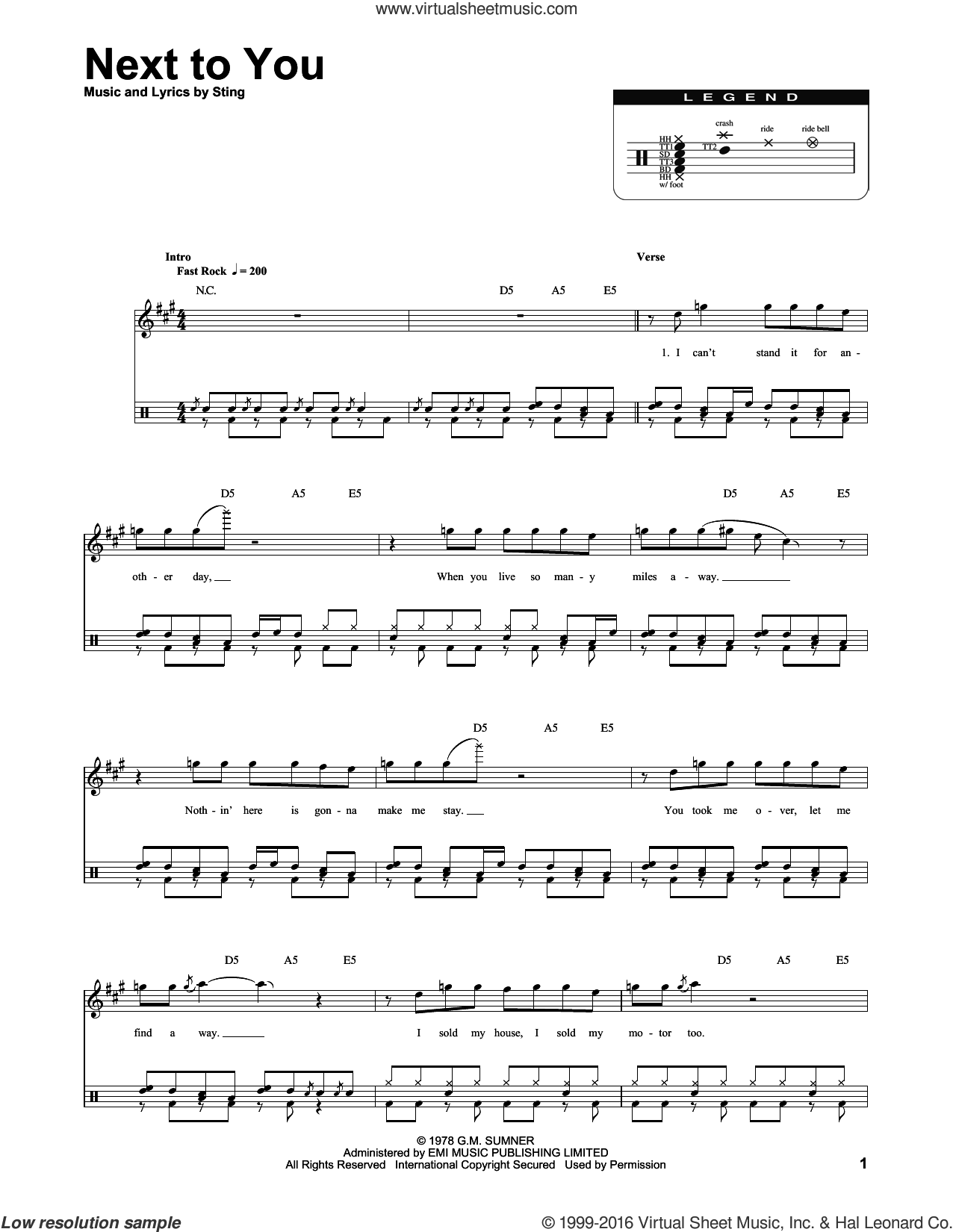 Next To You sheet music for drums by The Police and Sting, intermediate skill level
