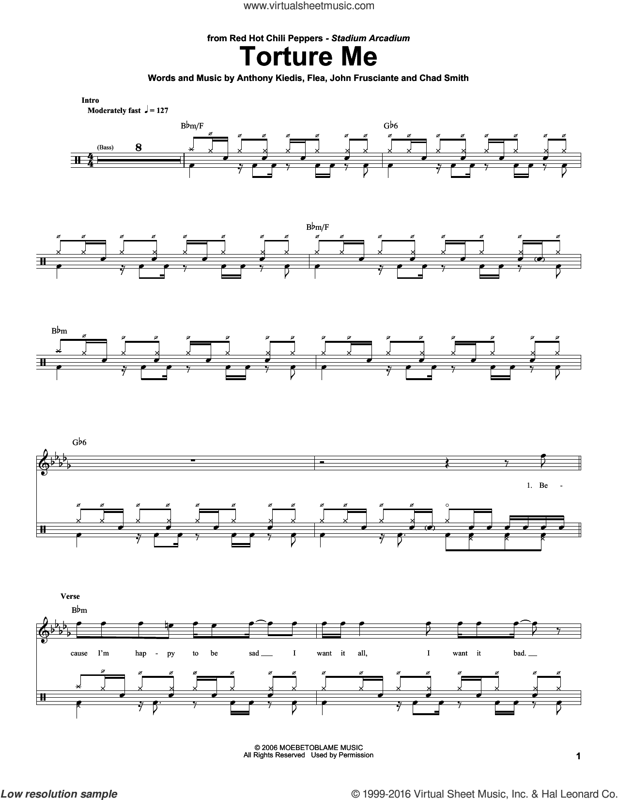 Torture Me sheet music for drums by John Frusciante, Red Hot Chili Peppers and Flea. Score Image Preview.