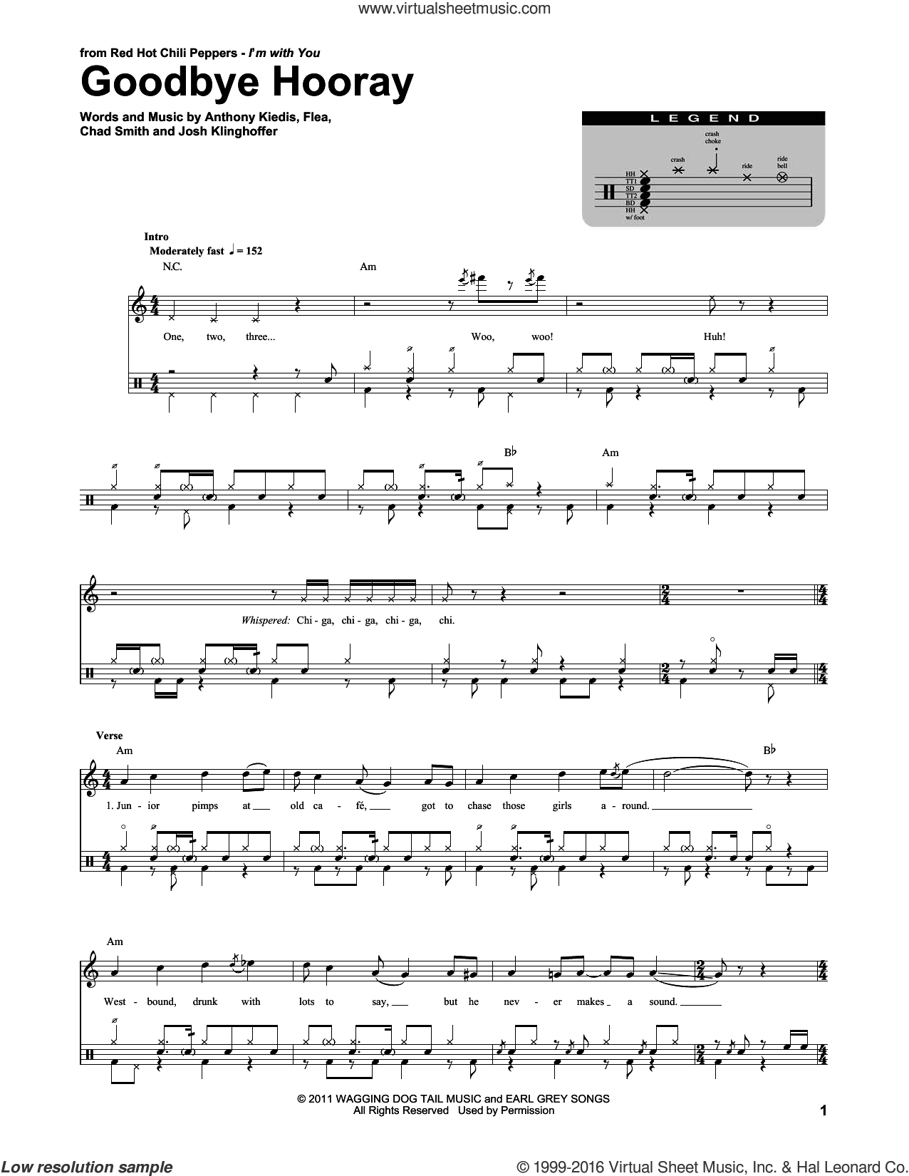 Goodbye Hooray sheet music for drums by Red Hot Chili Peppers, Anthony Kiedis, Chad Smith, Flea and Josh Klinghoffer, intermediate skill level