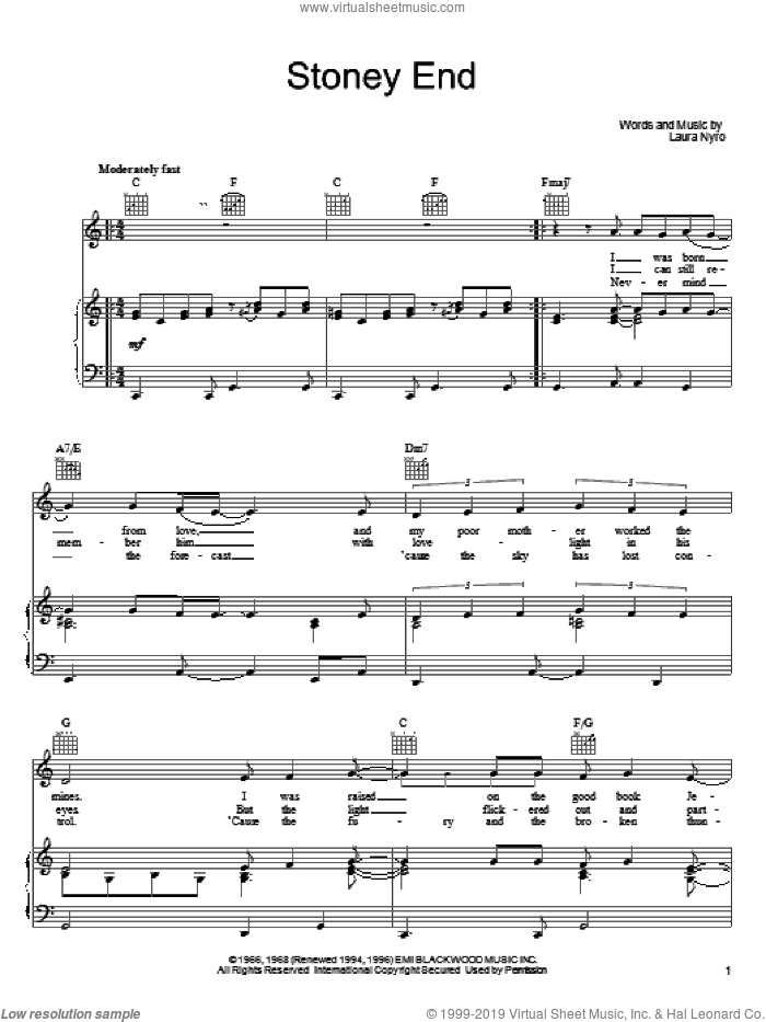 Stoney End sheet music for voice, piano or guitar by Laura Nyro and Barbra Streisand, intermediate skill level