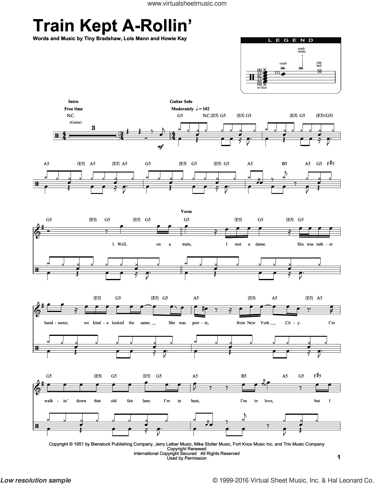 Train Kept A-Rollin' sheet music for drums by Tiny Bradshaw, Aerosmith and Yardbirds. Score Image Preview.