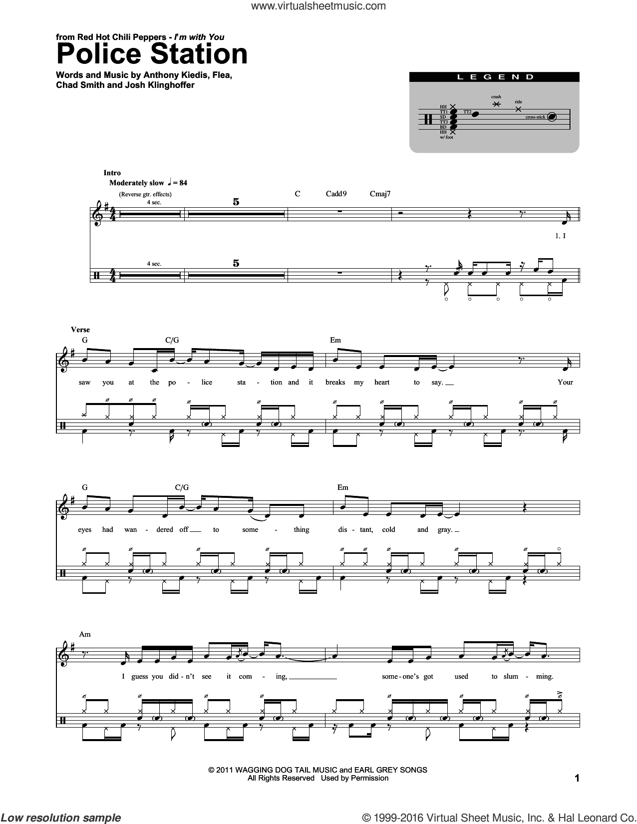 Police Station sheet music for drums by Josh Klinghoffer, Red Hot Chili Peppers and Flea. Score Image Preview.