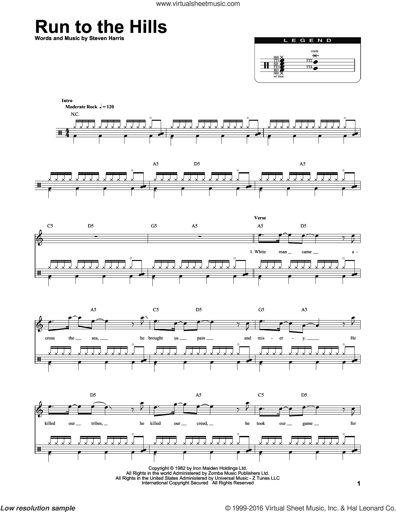 Run To The Hills sheet music for drums by Steve Harris and Iron Maiden. Score Image Preview.