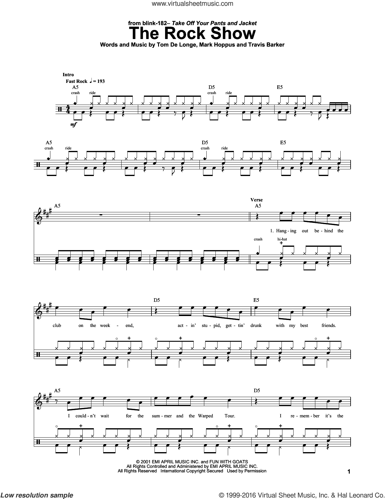 The Rock Show sheet music for drums by Blink 182, Mark Hoppus, Tom DeLonge and Travis Barker, intermediate skill level