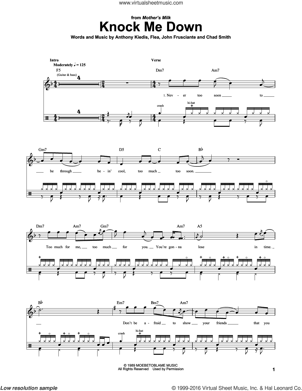 Knock Me Down sheet music for drums by Red Hot Chili Peppers, Anthony Kiedis, Chad Smith, Flea and John Frusciante, intermediate skill level