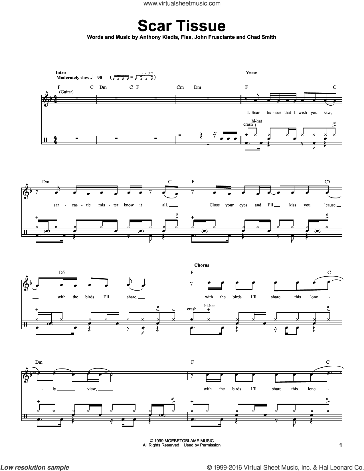 Scar Tissue sheet music for drums by Red Hot Chili Peppers, Anthony Kiedis, Chad Smith, Flea and John Frusciante, intermediate skill level