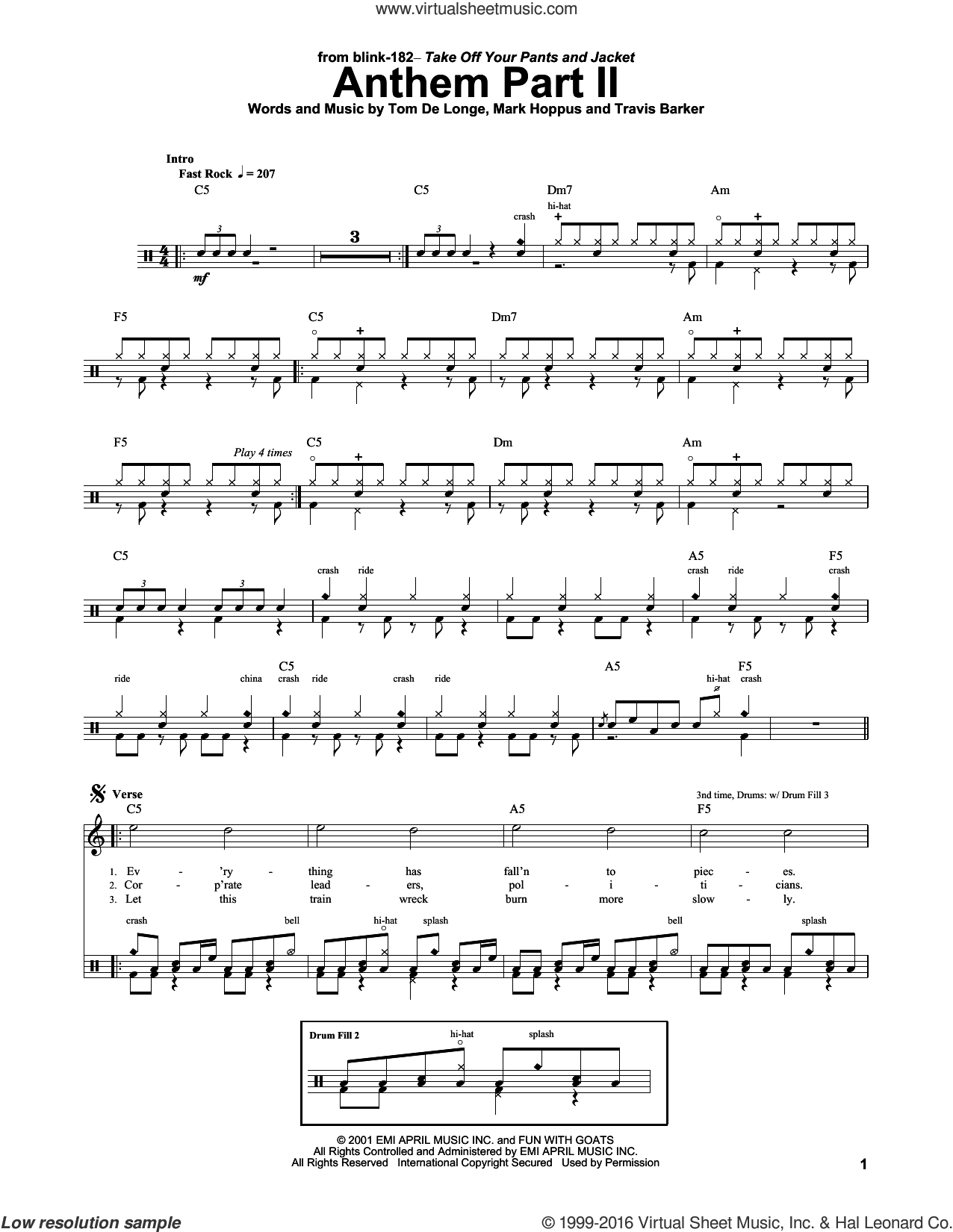 Anthem Part II sheet music for drums by Blink 182, Mark Hoppus, Tom DeLonge and Travis Barker, intermediate skill level
