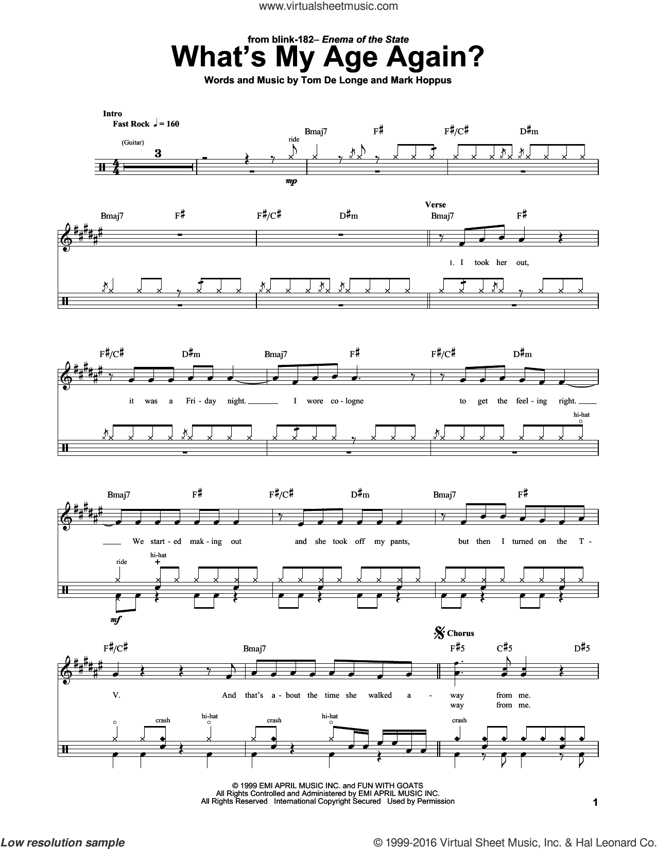 What's My Age Again? sheet music for drums by Blink 182, Mark Hoppus and Tom DeLonge, intermediate skill level