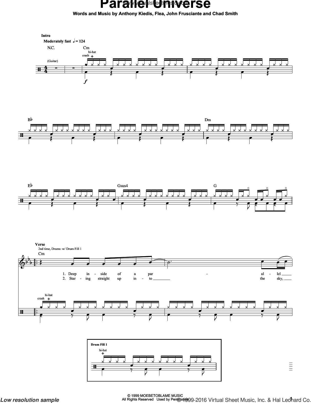 Parallel Universe sheet music for drums by Red Hot Chili Peppers, Anthony Kiedis, Chad Smith, Flea and John Frusciante, intermediate skill level