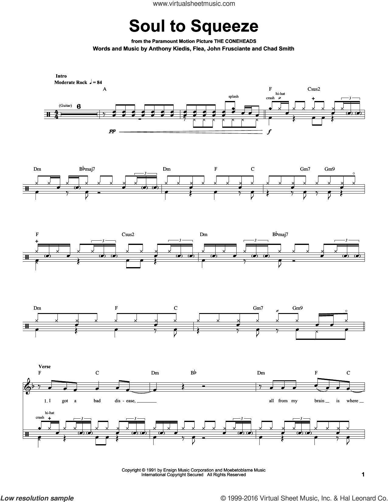 Soul To Squeeze sheet music for drums by Red Hot Chili Peppers. Score Image Preview.