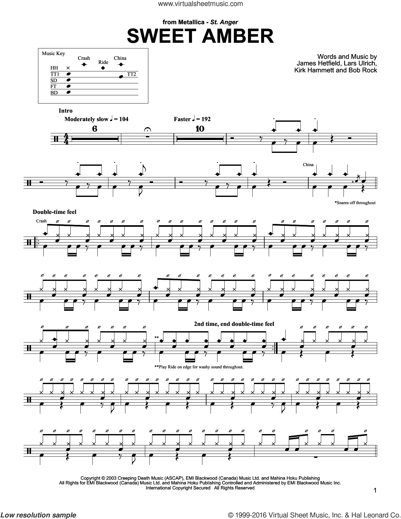 Sweet Amber sheet music for drums by Metallica, intermediate drums. Score Image Preview.