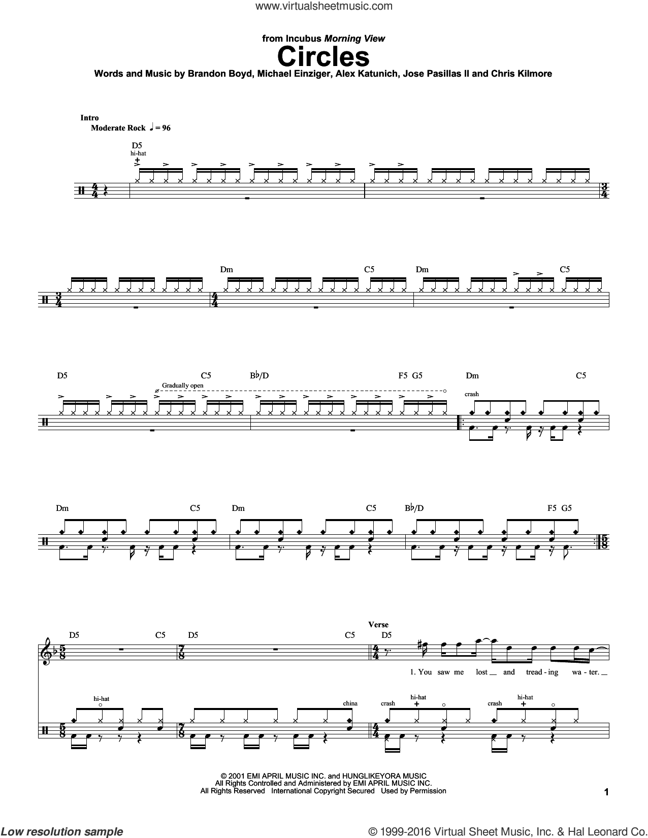 Circles sheet music for drums by Michael Einziger, Incubus, Alex Katunich and Chris Kilmore. Score Image Preview.