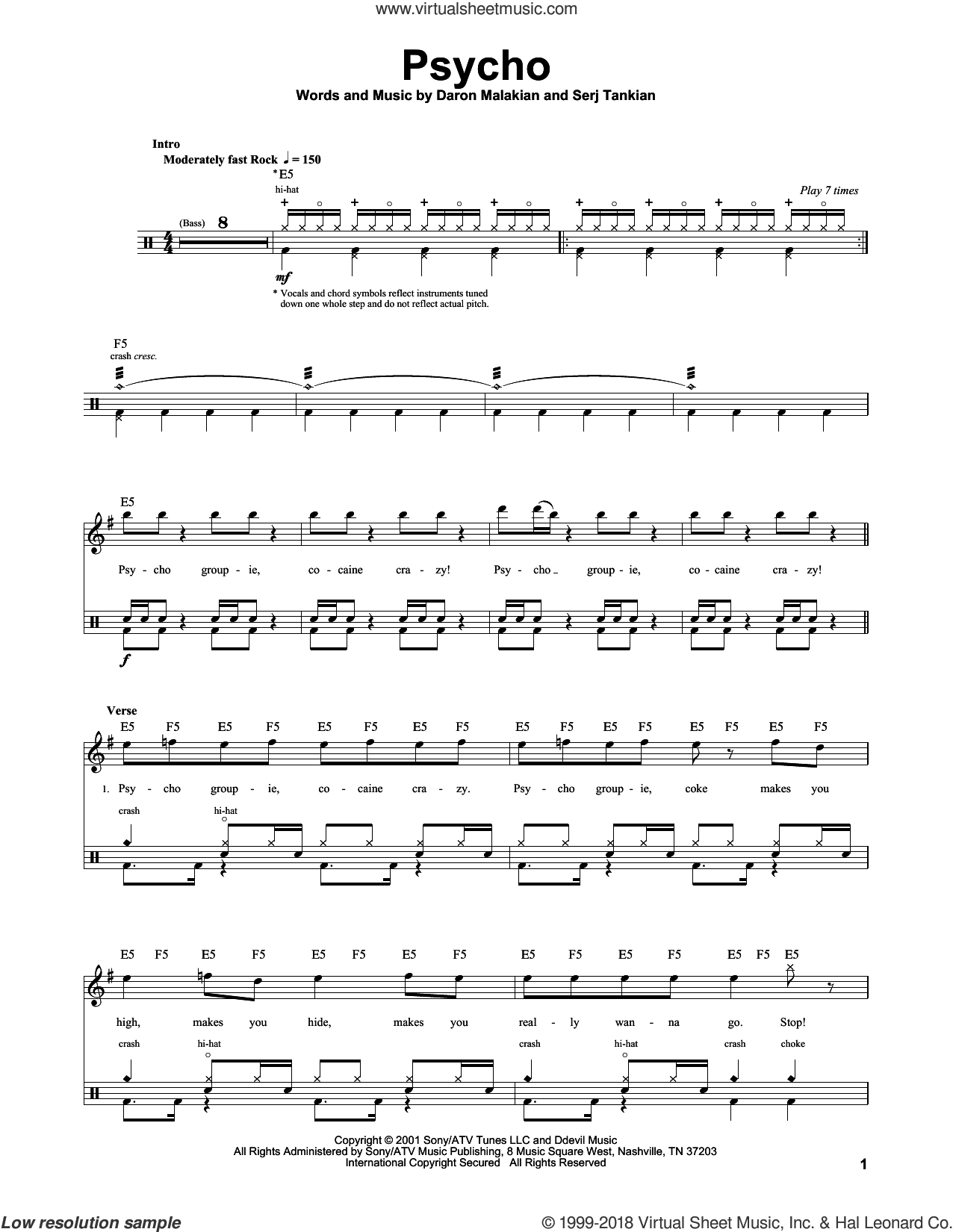Psycho sheet music for drums by System Of A Down, Daron Malakian and Serj Tankian, intermediate skill level