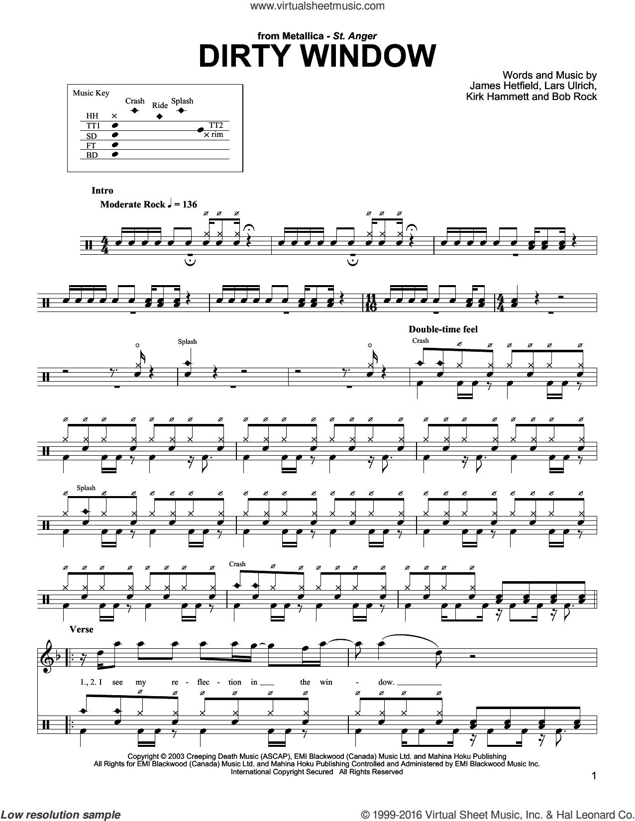 Dirty Window sheet music for drums by Metallica, Bob Rock, James Hetfield, Kirk Hammett and Lars Ulrich, intermediate skill level